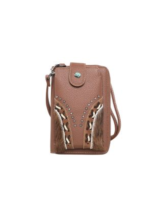 TR122-183 BR Trinity Ranch Hair-On Cowhide Collection Phone Wallet/Crossbody