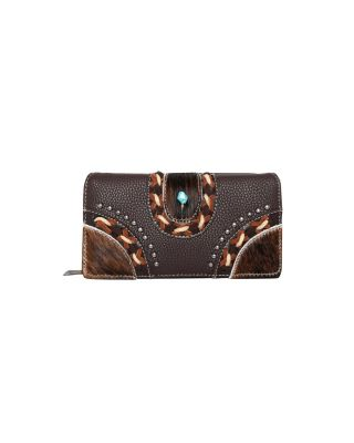 TR122-W010CF Trinity Ranch Hair-On Studded Collection Secretary Style Wallet