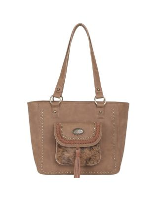 TR128G-8317 BR Trinity Ranch Hair-On Leather Collection Concealed Handgun Tote