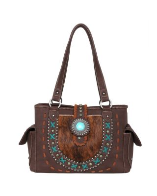 TR129G-8086 CF Trinity Ranch Hair-On Leather Collection Concealed Carry Satchel