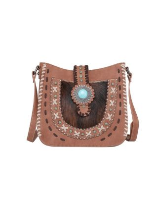 TR129G-9360 BR Trinity Ranch Hair-On Leather Collection Concealed Carry Crossbody Bag