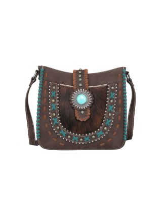 TR129G-9360 CFTrinity Ranch Hair-On Leather Collection Concealed Carry Crossbody Bag