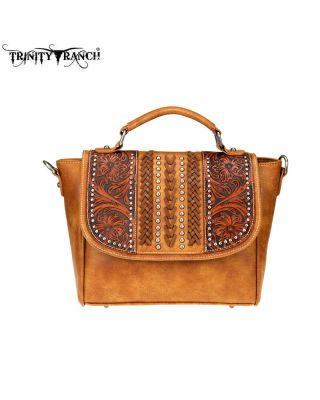 TR70-8262 BR Trinity Ranch Tooled Leather Collection Satchel/Crossbody