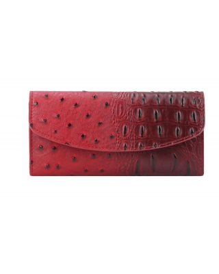 W02OTSK-RD Ostrich Checkbook Wallet