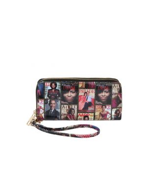 W02PQS-MT Magazine Cover Collage Large Tri-fold Clutch Wallet