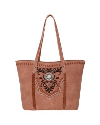 WG08-G8317 BR Wrangler Embroidered Concealed Carry Tote(Wrangler by Montana West)